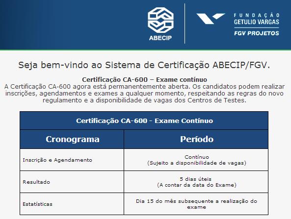 Calendário Certificação ABECIP CA-600